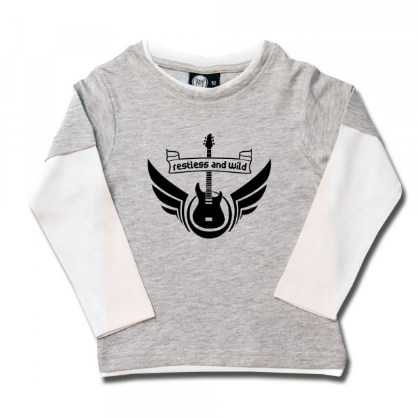 restless and wild Kids Skater Shirt mit Aufdruck in schwarz auf Metal-Kids Markenware