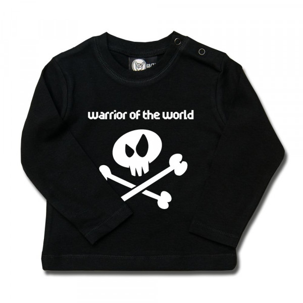 warrior of the world Baby Longsleeve mit Aufdruck in weiß auf Metal-Kids Markenware