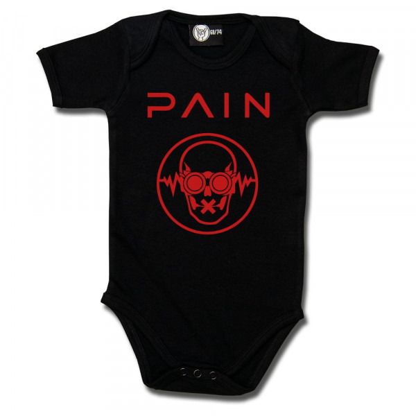 Pain (Logo) Baby Body mit Aufdruck in rot auf Metal-Kids Markenware