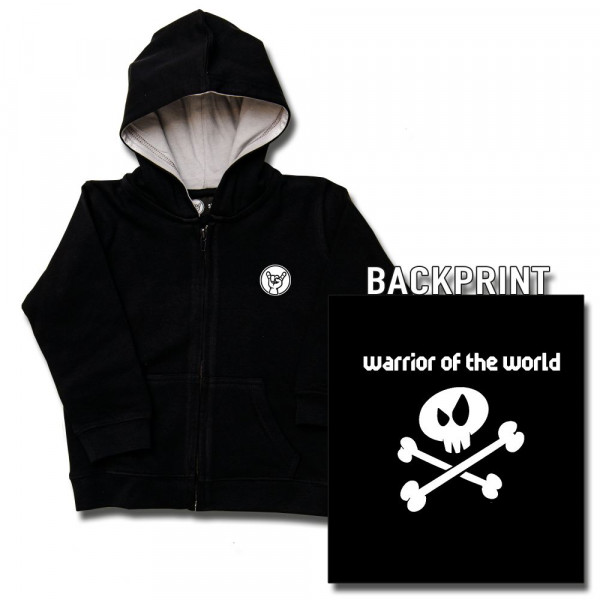 warrior of the world Kids Kapuzenjacke mit Aufdruck in weiß auf Metal-Kids Markenware