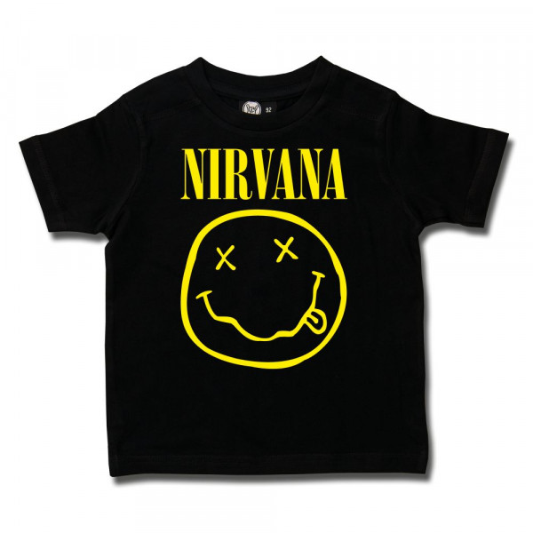 Nirvana (Smiley) Kids T-Shirt mit Aufdruck in gelb auf Metal-Kids Markenware