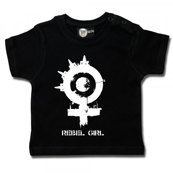 Arch Enemy (Rebel Girl) Baby T-Shirt mit Aufdruck in weiß auf Metal-Kids Markenware
