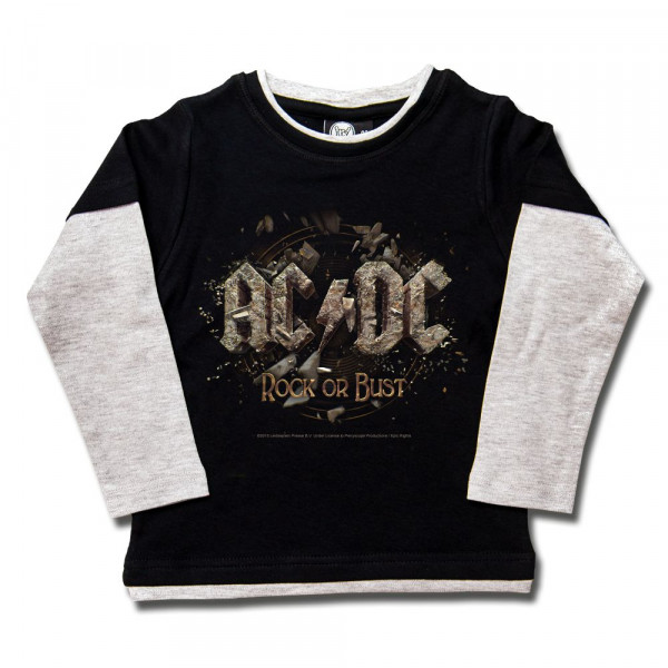 AC/DC (Rock or Bust) Kids Skater Shirt mit Aufdruck in multicolor auf Metal-Kids Markenware