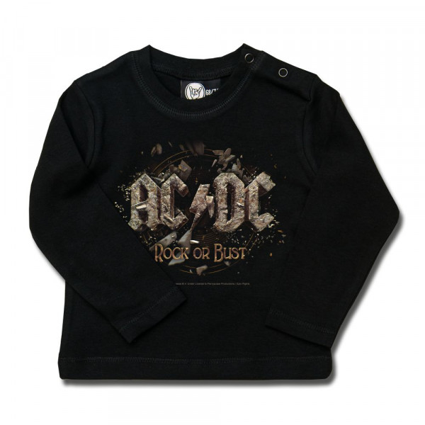 AC/DC (Rock or Bust) Baby Longsleeve mit Aufdruck in multicolor auf Metal-Kids Markenware