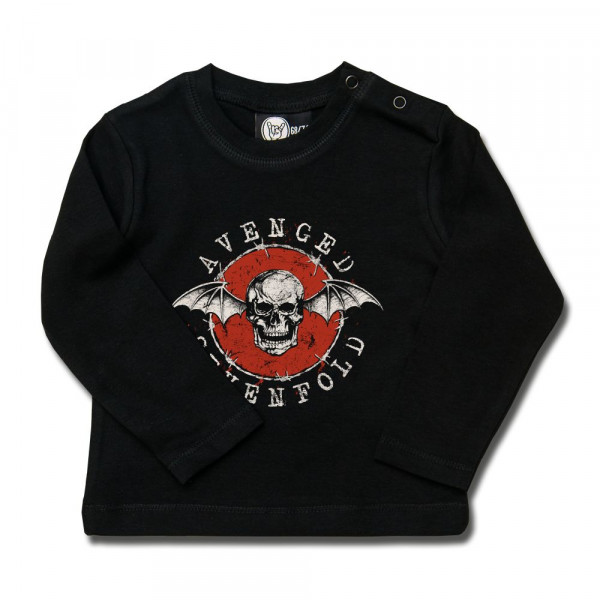 Avenged Sevenfold (New Deathbat) Baby Longsleeve mit Aufdruck in multicolor auf Metal-Kids Markenware