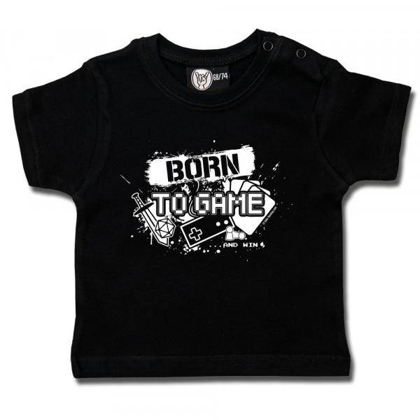 Born to Game Baby T-Shirt mit Aufdruck in weiß auf Metal-Kids Markenware