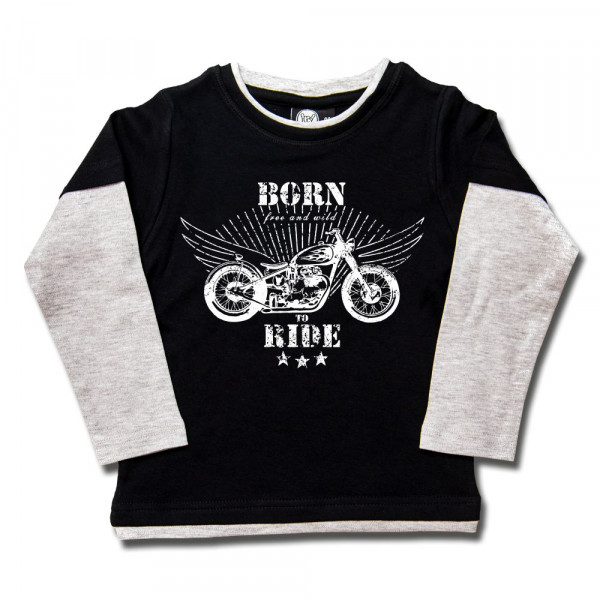 born to ride Kids Skater Shirt mit Aufdruck in weiß auf Metal-Kids Markenware