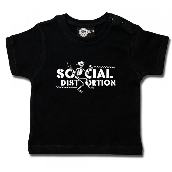 Social Distortion (Checkered Skellie) Baby T-Shirt mit Aufdruck in weiß auf Metal-Kids Markenware