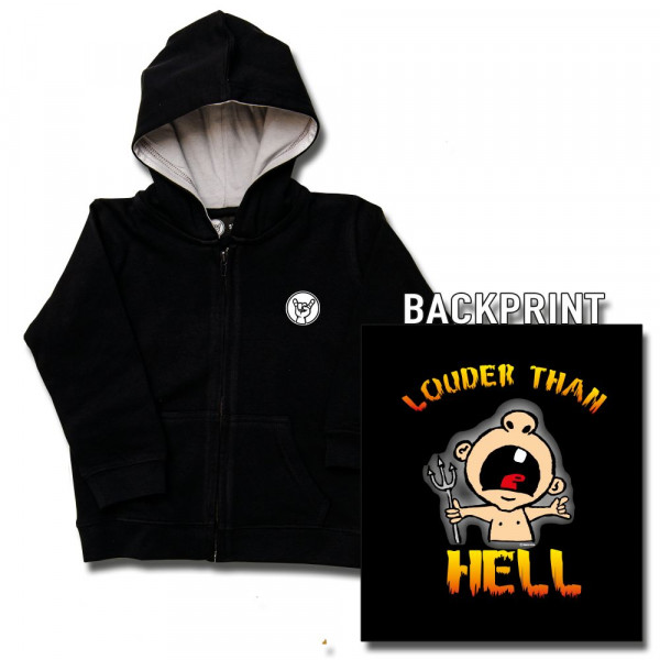 louder than hell Baby Kapuzenjacke mit Aufdruck in multicolor auf Metal-Kids Markenware