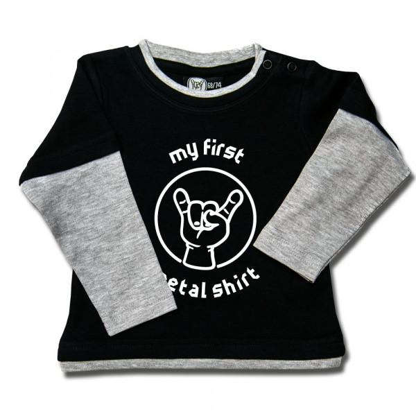 my first metal shirt (invers) Baby Skater Shirt mit Aufdruck in weiß auf Metal-Kids Markenware
