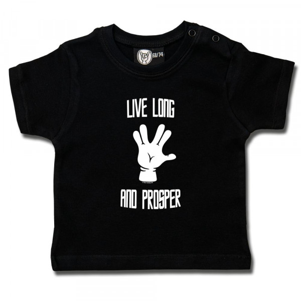 Live Long and Prosper Baby T-Shirt mit Aufdruck in weiß auf Metal-Kids Markenware