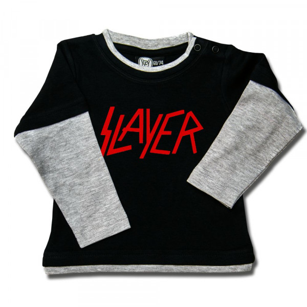 Slayer (Logo) Baby Skater Shirt mit Aufdruck in rot auf Metal-Kids Markenware